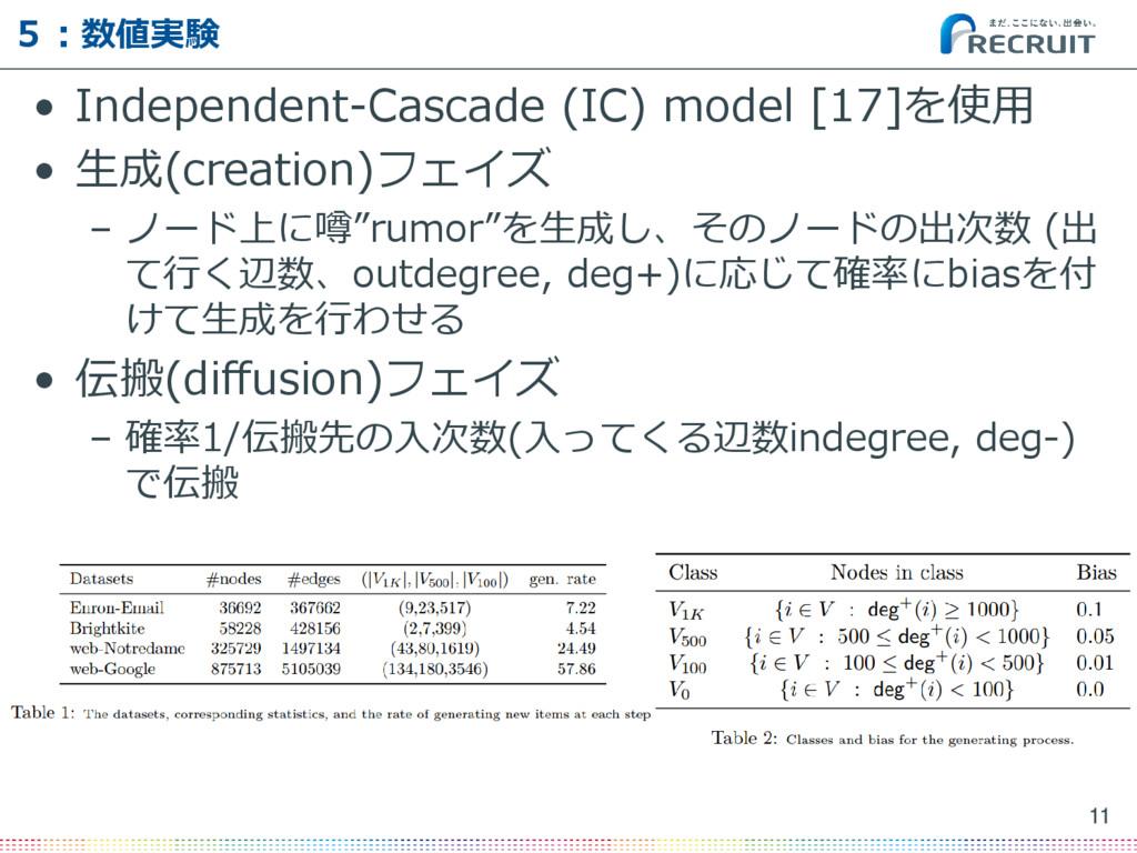 5:数値実験 • Independent-Cascade (IC) model [17]を使用...