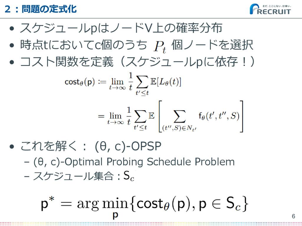 • スケジュールpはノードV上の確率分布 • 時点tにおいてc個のうち 個ノードを選択 • コ...