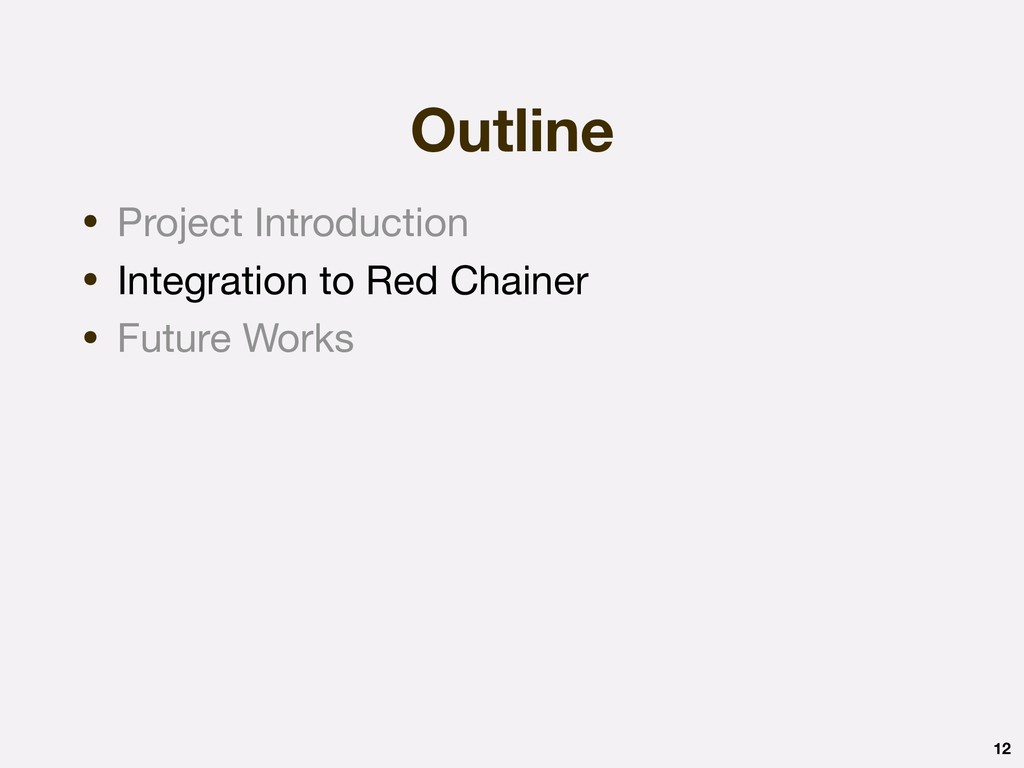Outline 12 • Project Introduction  • Integratio...