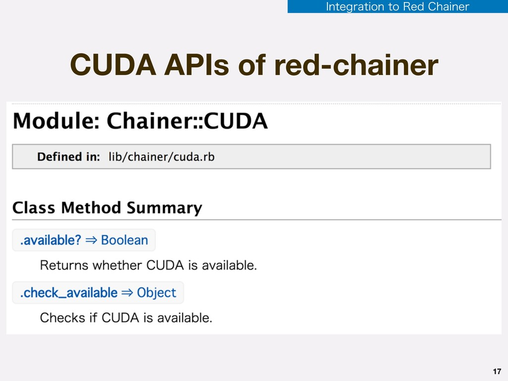 CUDA APIs of red-chainer 17 *OUFHSBUJPOUP3FE...