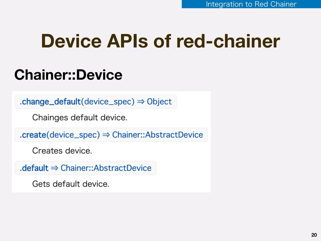 Device APIs of red-chainer 20 Chainer::Device *...