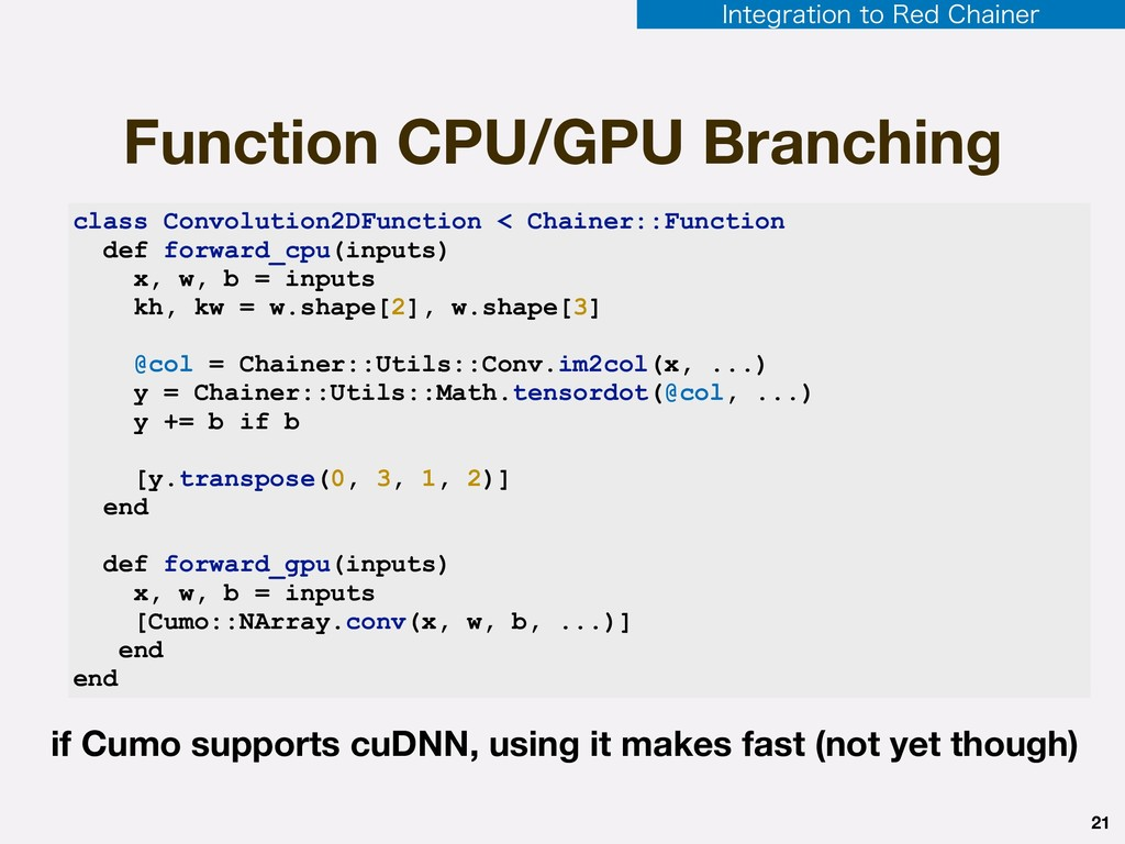 Function CPU/GPU Branching 21 class Convolution...