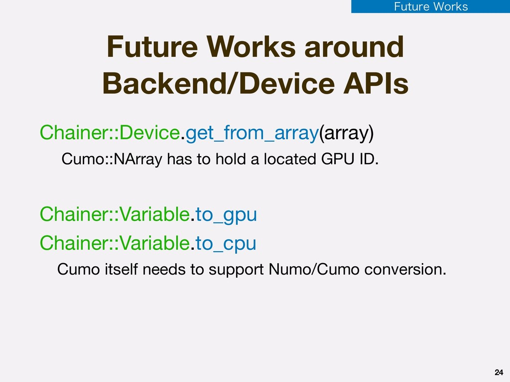 Future Works around Backend/Device APIs 24 Chai...