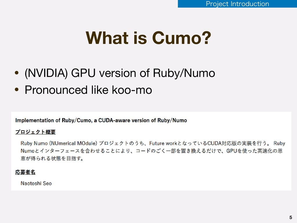 5 1SPKFDU*OUSPEVDUJPO What is Cumo? • (NVIDIA)...