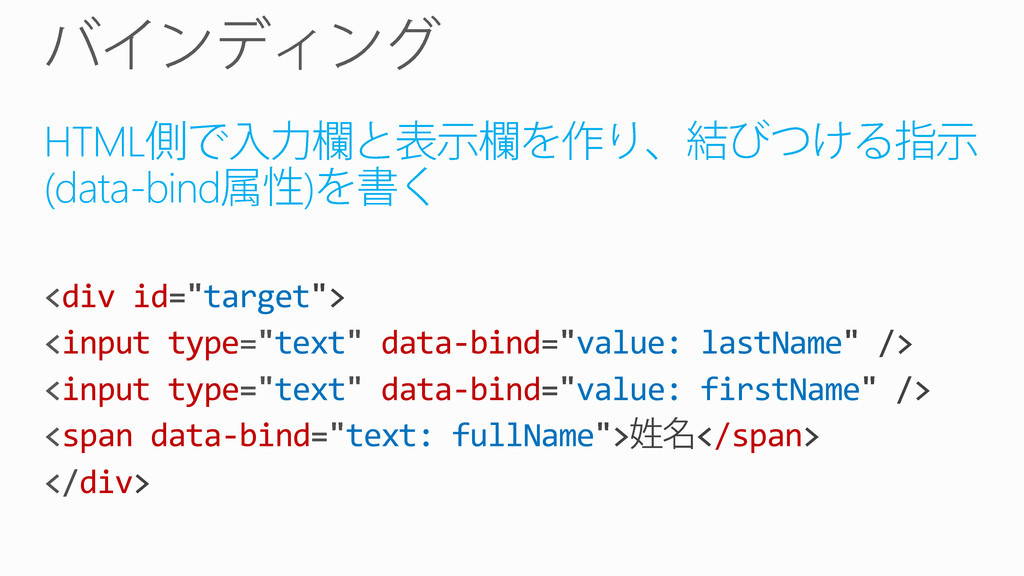 HTML (data-bind ) div id target input type text...