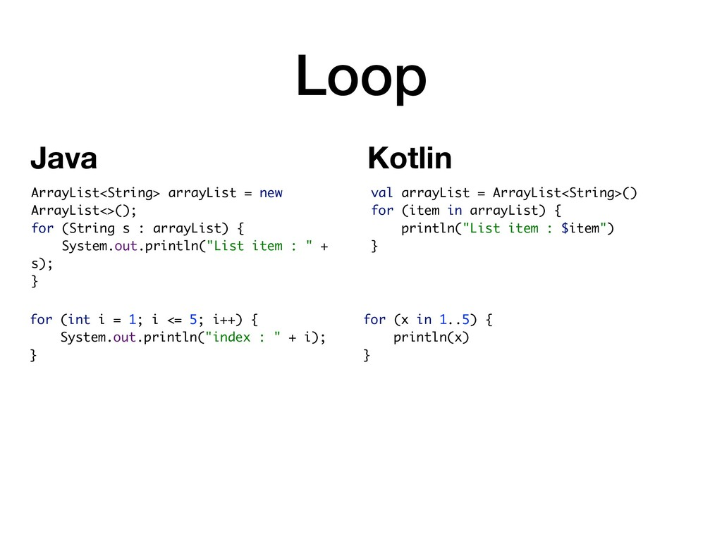Loop val arrayList = ArrayList<String>() for (i...