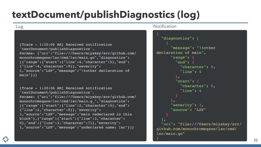 textDocument/publishDiagnostics (log) 22 [Trace...