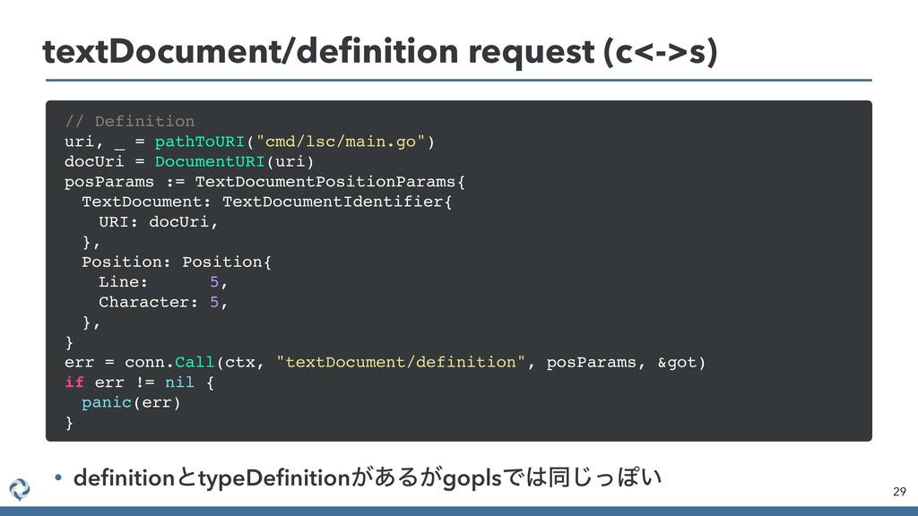 29 textDocument/definition request (c<->s) • defi...