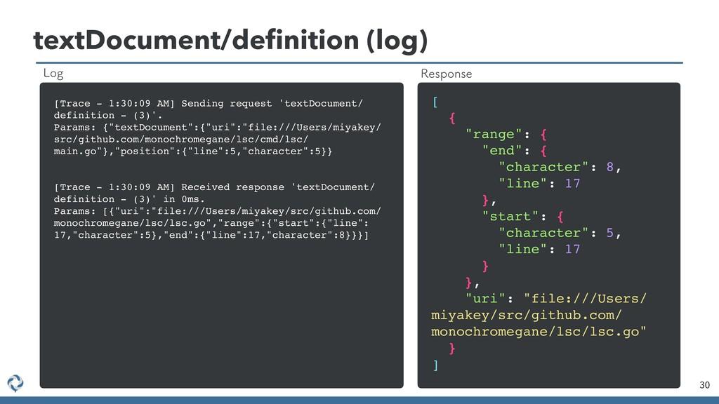 textDocument/definition (log) 30 [Trace - 1:30:0...
