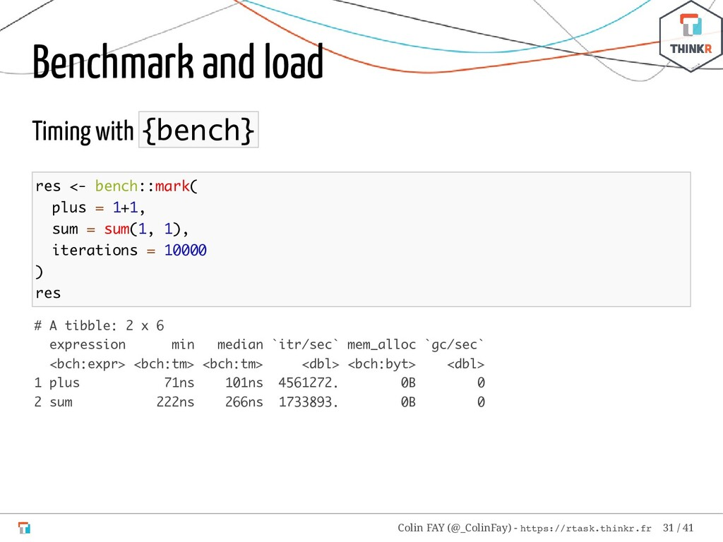 Benchmark and load Timing with {bench} res <- b...