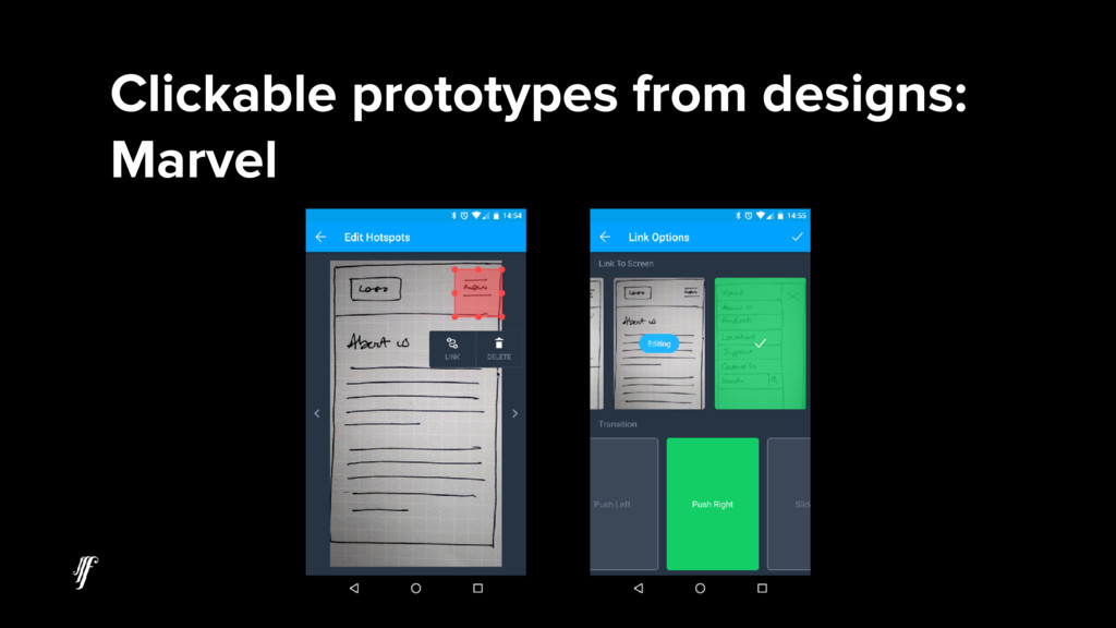Clickable prototypes from designs: Marvel