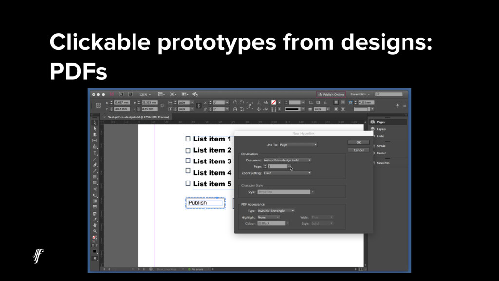Clickable prototypes from designs: PDFs