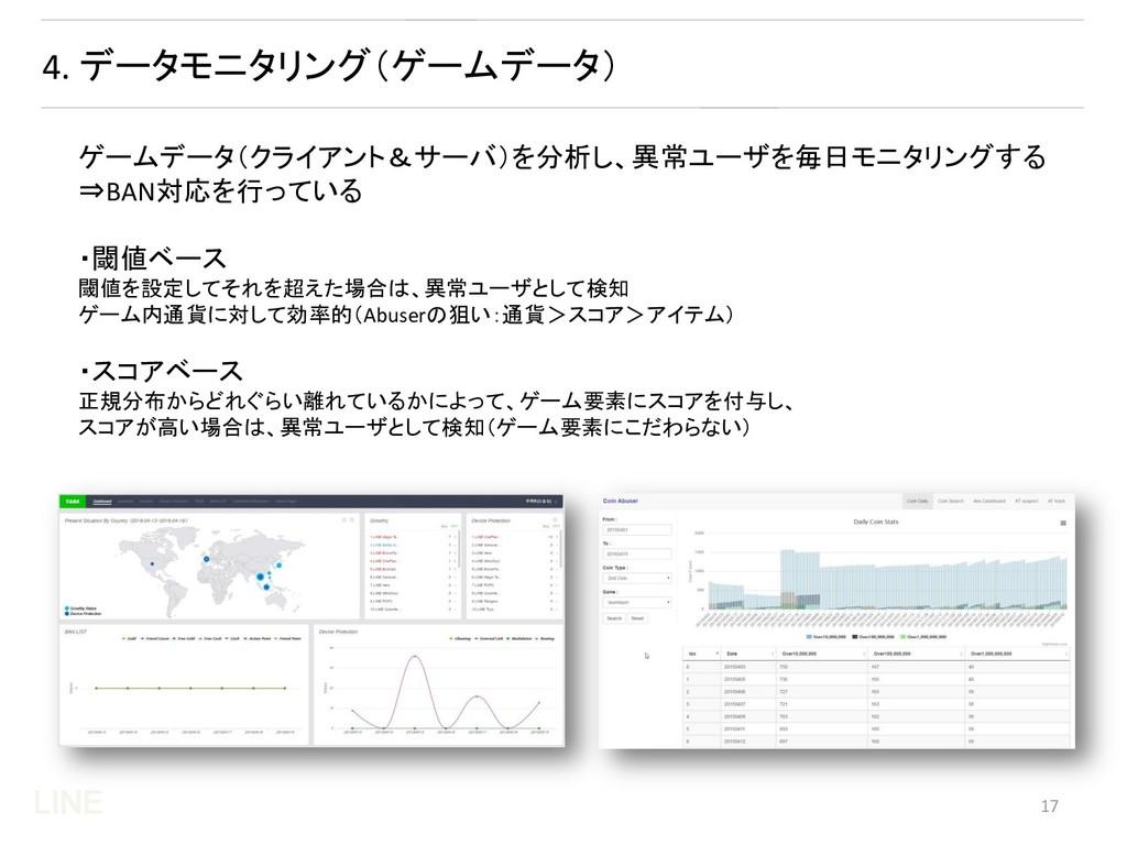 LINE 4. データモニタリング(ゲームデータ) ゲームデータ(クライアント&サーバ)を分析...
