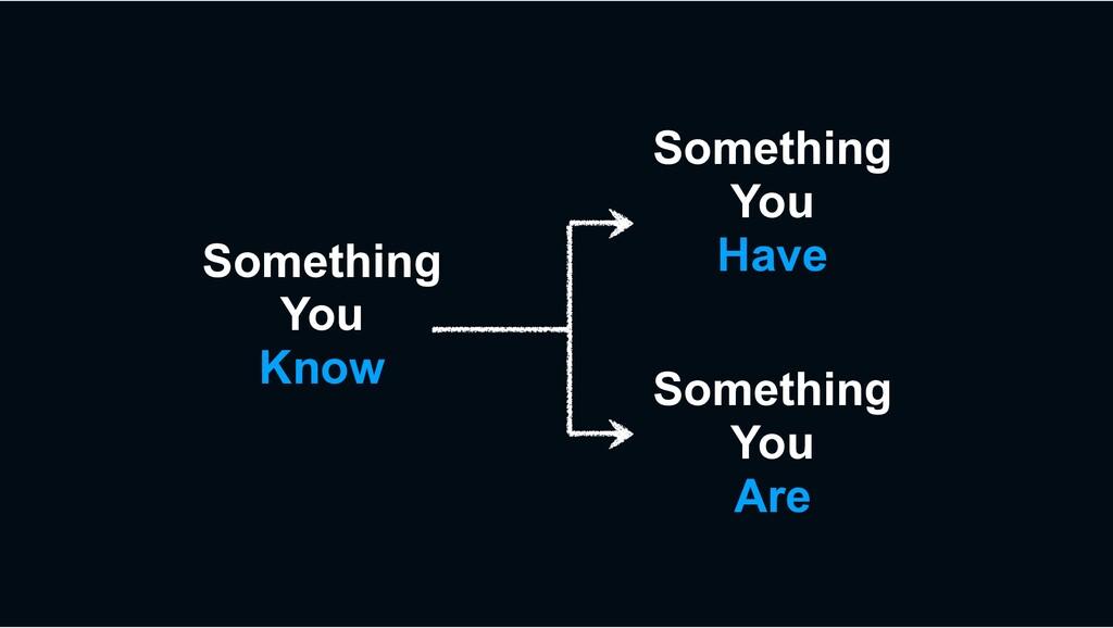 Something You Know Something You Have Something...