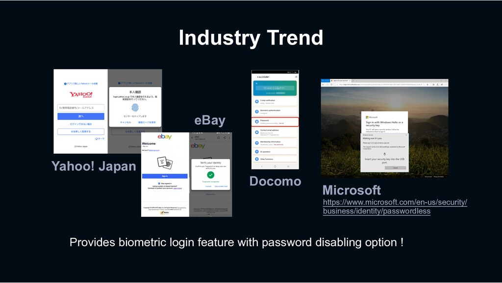 Industry Trend Provides biometric login feature...