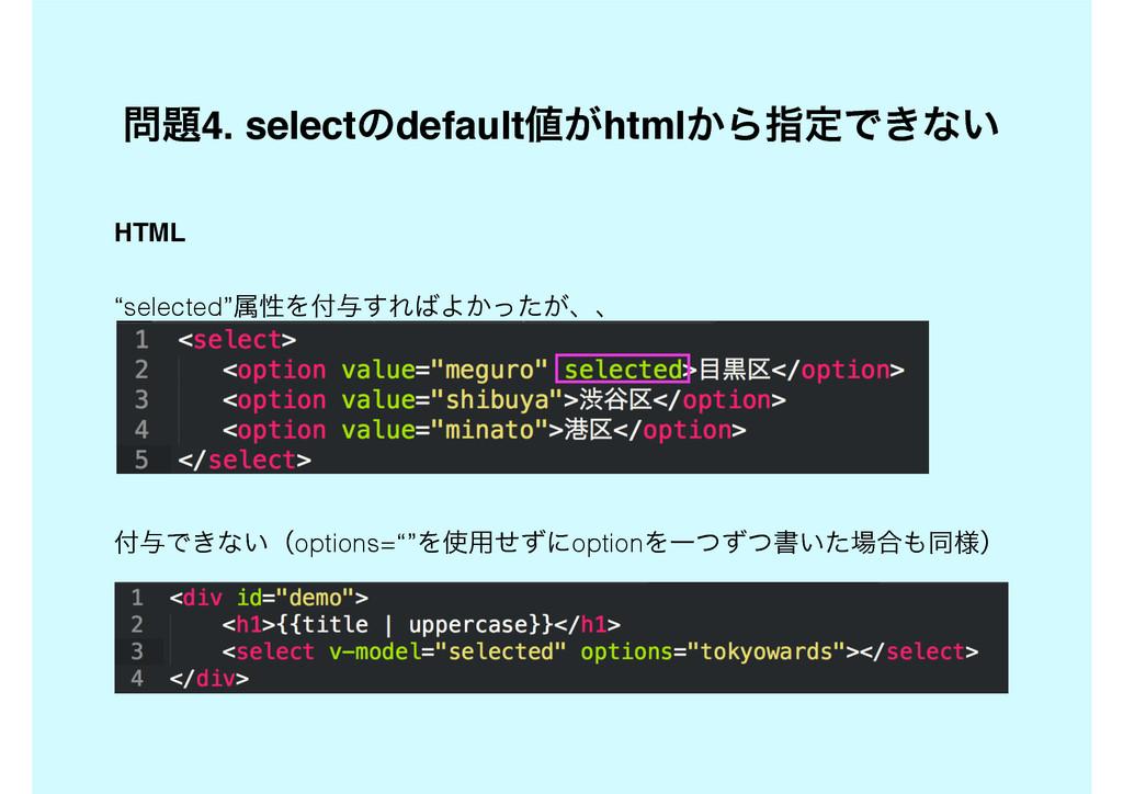 """4. selectͷdefault͕html͔ΒࢦఆͰ͖ͳ͍ HTML """"selecte..."""
