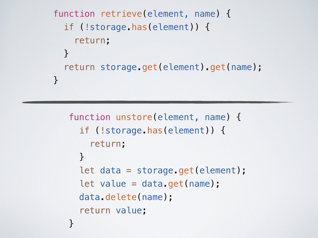 function retrieve(element, name) { if (!storage...