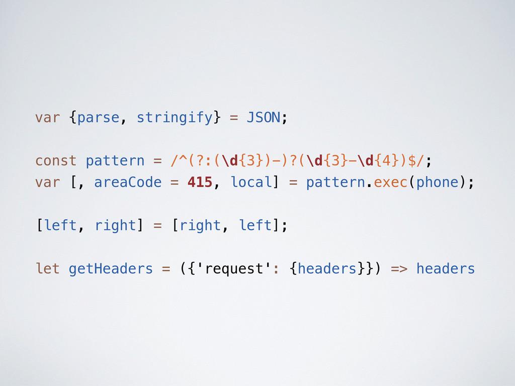 var {parse, stringify} = JSON; const pattern = ...
