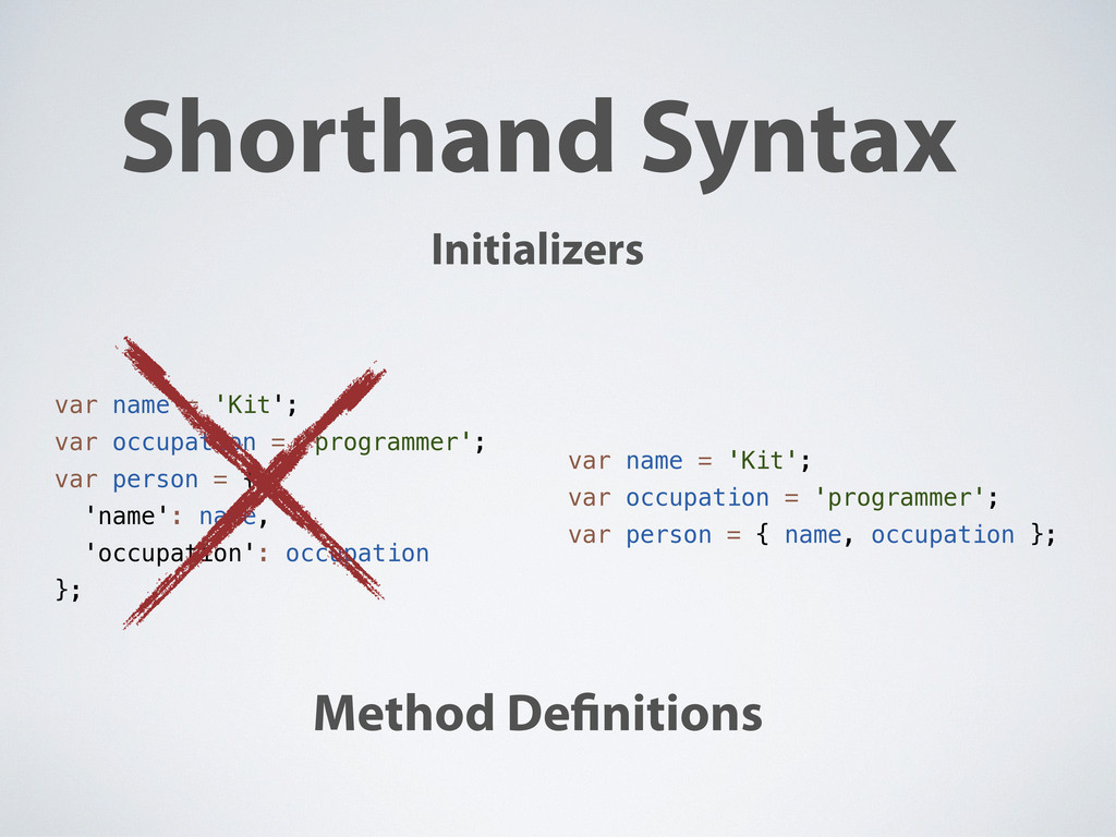 Shorthand Syntax Initializers Method De nitions...