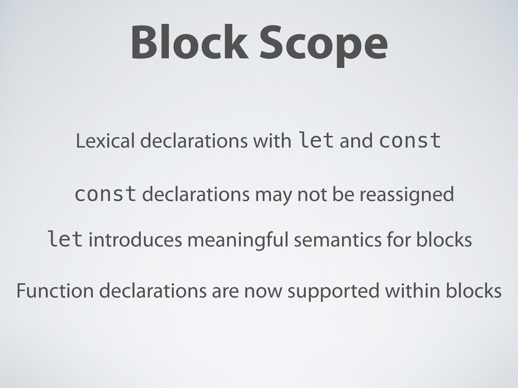 Block Scope Lexical declarations with let and c...