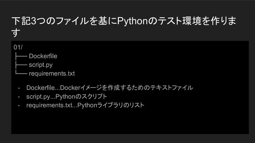 下記3つのファイルを基にPythonのテスト環境を作りま す 01/ ├── Dockerfi...