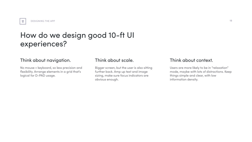 How do we design good 10-ft UI experiences? Thi...