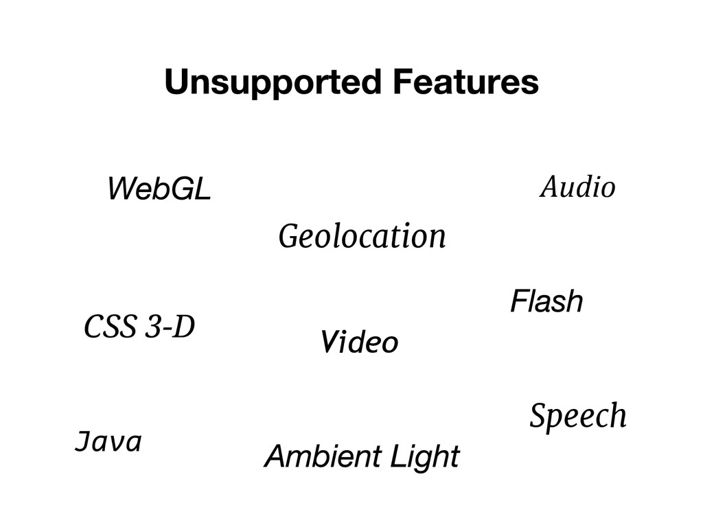 Geolocation CSS 3-D Java Audio Video Speech