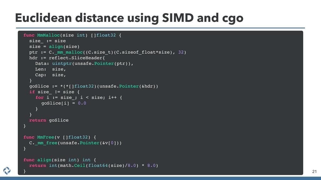 Euclidean distance using SIMD and cgo 21 func M...