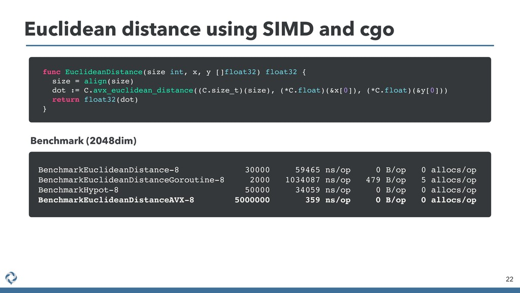 Euclidean distance using SIMD and cgo 22 func E...