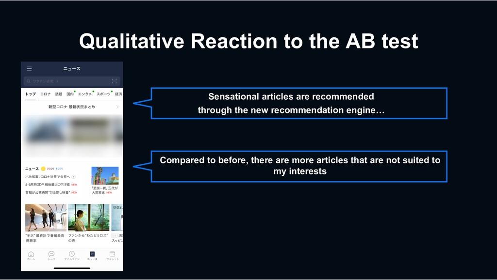 Qualitative Reaction to the AB test Sensational...