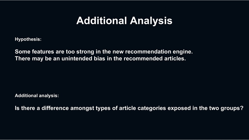 Additional Analysis Hypothesis: Some features a...