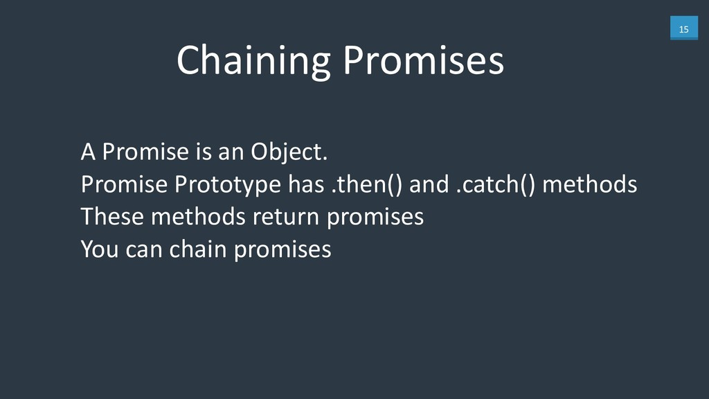15 Chaining Promises A Promise is an Object. 