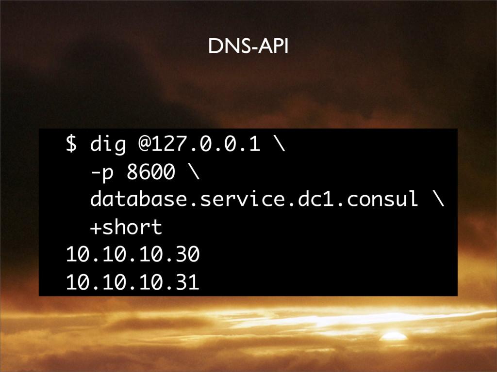 DNS-API $ dig @127.0.0.1 \ -p 8600 \ database.s...