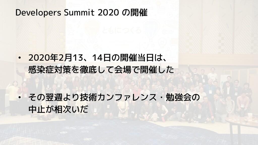 Developers Summit 2020 の開催 • 2020年2月13、14日の開催当日...
