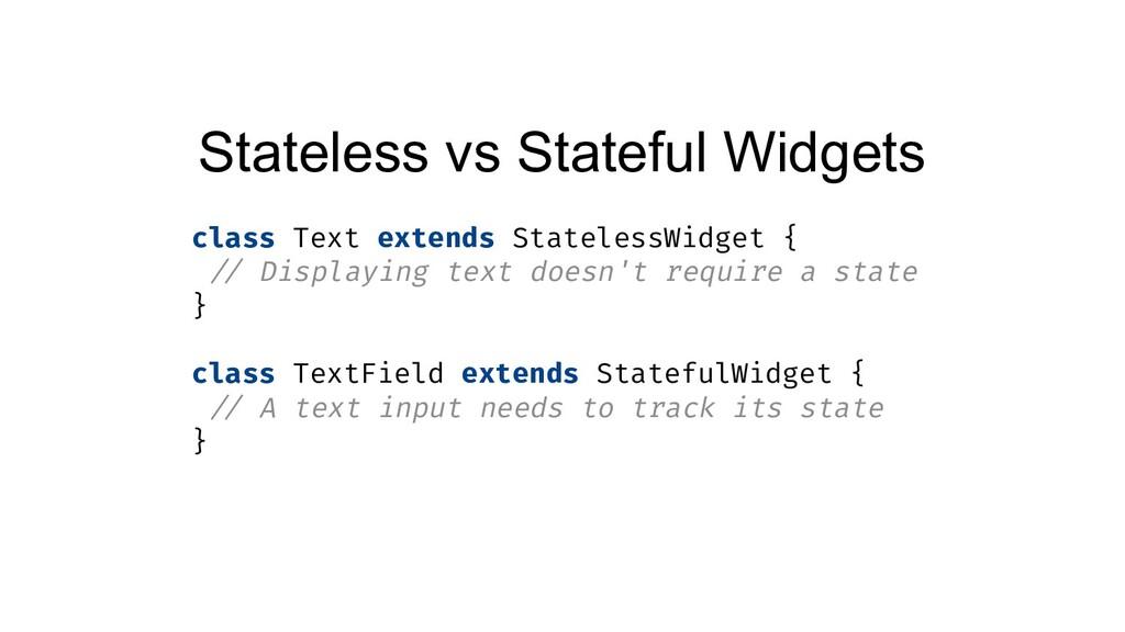 Stateless vs Stateful Widgets class Text extend...