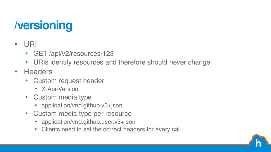 /versioning • URI • GET /api/v2/resources/123 •...
