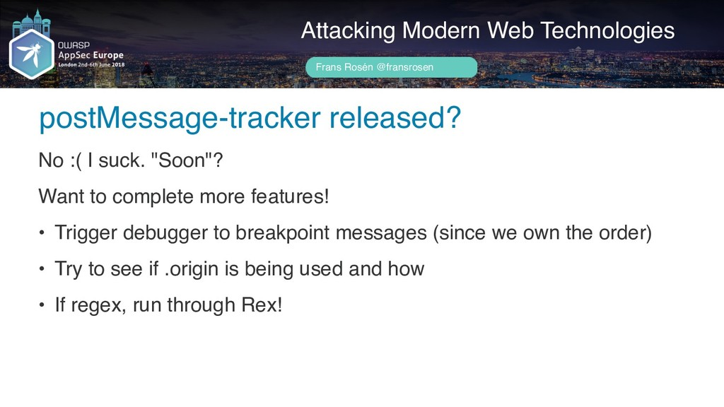 Author name her postMessage-tracker released? A...