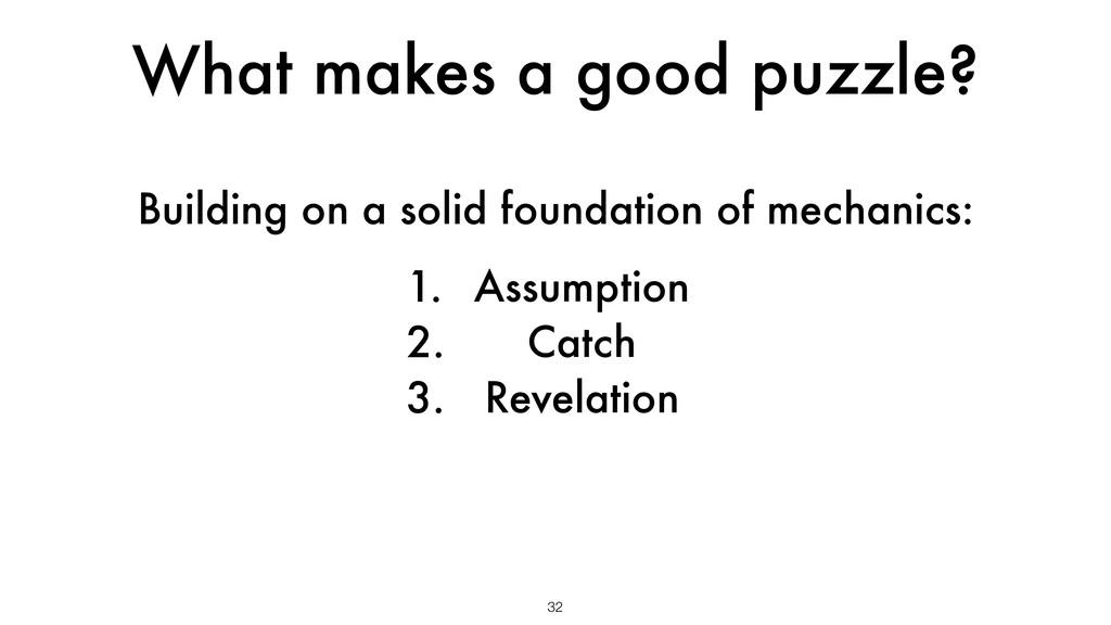 What makes a good puzzle? 32 1. Assumption 2. C...