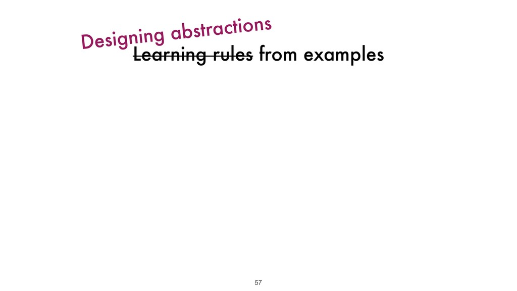 Learning rules from examples 57 Designing abstr...