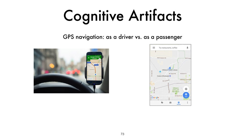 Cognitive Artifacts 73 GPS navigation: as a dri...