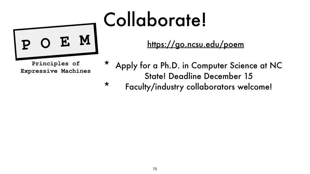 Collaborate! 76 https://go.ncsu.edu/poem * Appl...