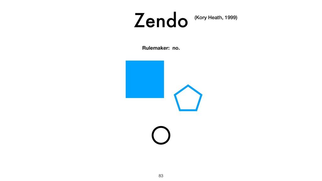Zendo 83 (Kory Heath, 1999) Rulemaker: no.