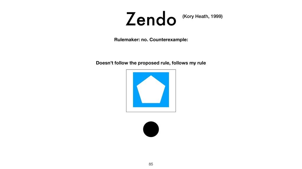 Zendo 85 (Kory Heath, 1999) Rulemaker: no. Coun...