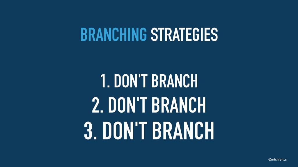 @michieltcs BRANCHING STRATEGIES 1. DON'T BRANC...