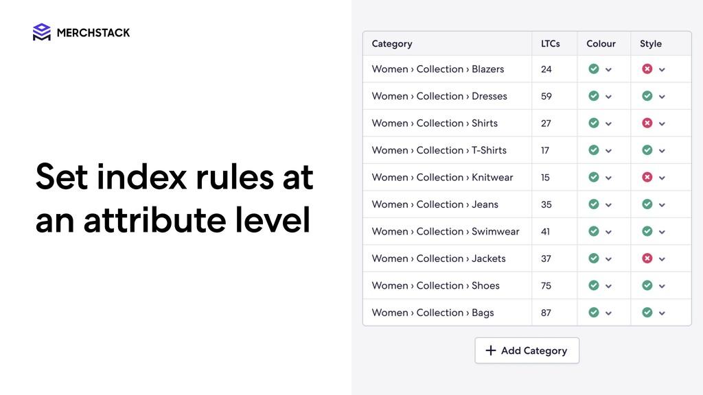 Set i ndex rules a t a n a ttr i bute level