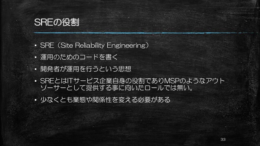 SREの役割 ▪ SRE(Site Reliability Engineering) ▪ 運用...
