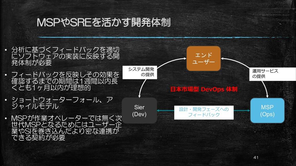 MSPやSREを活かす開発体制 ▪ 分析に基づくフィードバックを適切 にソフトウェアの実装に反...