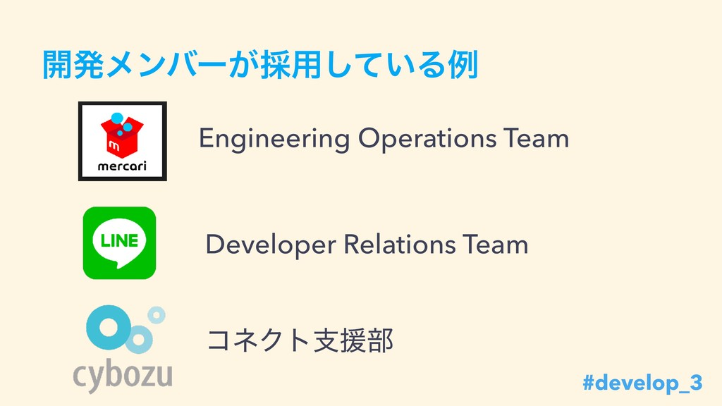 ։ൃϝϯόʔ͕࠾༻͍ͯ͠Δྫ Engineering Operations Team Deve...