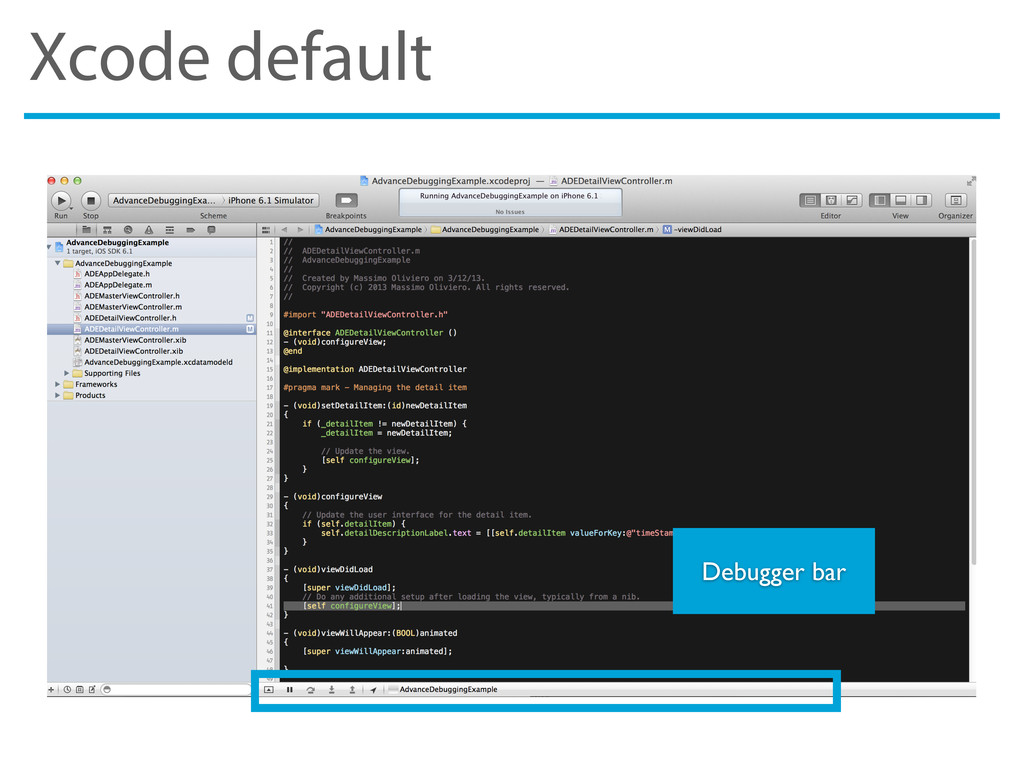 Xcode default Debugger bar