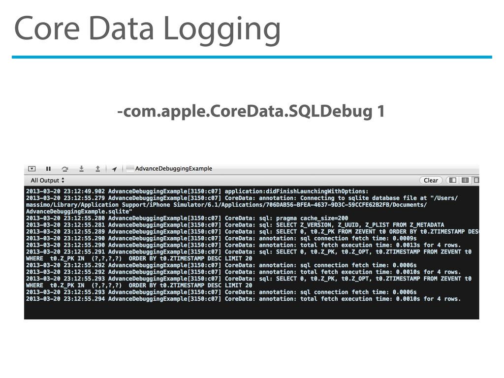 Core Data Logging -com.apple.CoreData.SQLDebug 1